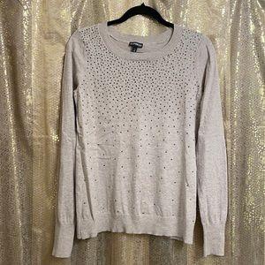 Express tan long sleeve rhinestone sweater, size M